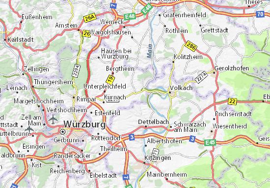 Karte Würzburg Und Umgebung.Karte Stadtplan Prosselsheim Viamichelin