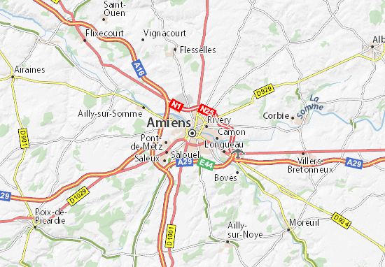 map of amiens michelin amiens map viamichelin. Black Bedroom Furniture Sets. Home Design Ideas