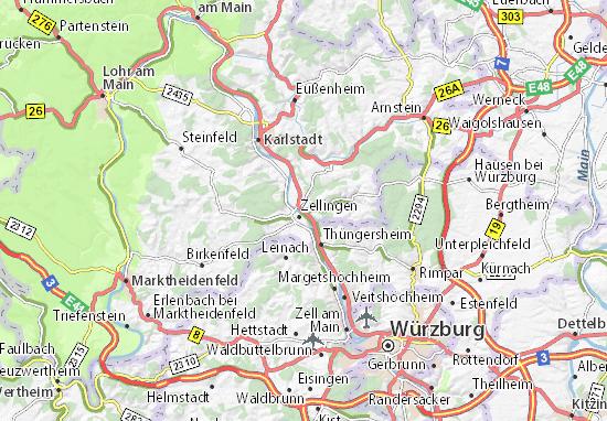 Karte Würzburg Und Umgebung.Karte Stadtplan Retzbach Viamichelin