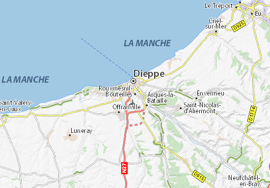 Karte Stadtplan Rouxmesnil-Bouteilles