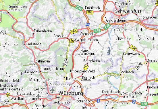 würzburg karte Karte, Stadtplan Hausen bei Würzburg   ViaMichelin