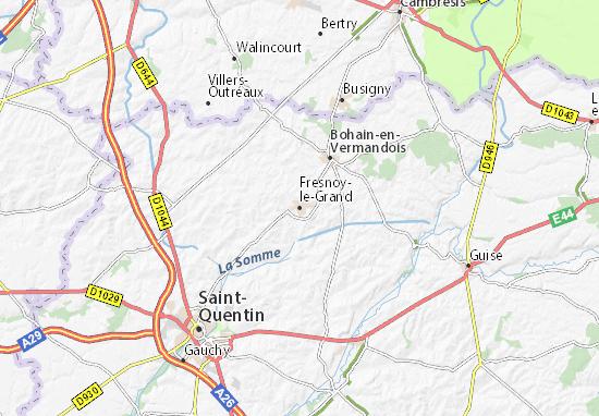 Kaart Plattegrond Fresnoy-le-Grand