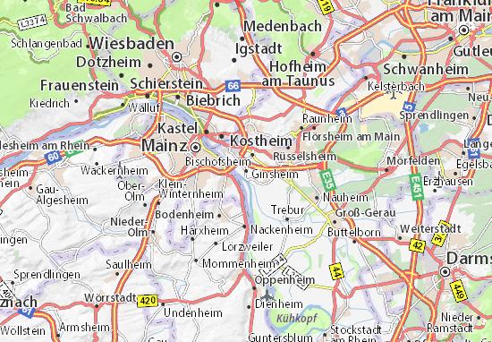 Karte Stadtplan Ginsheim