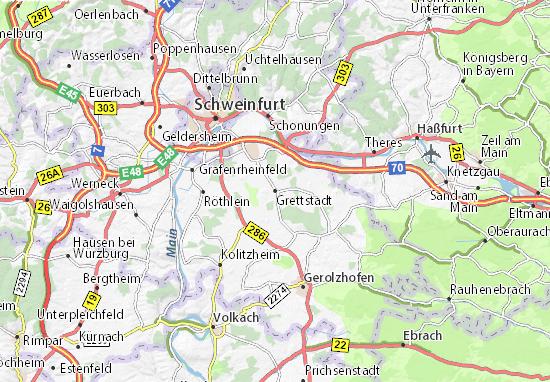 Karte Stadtplan Grettstadt