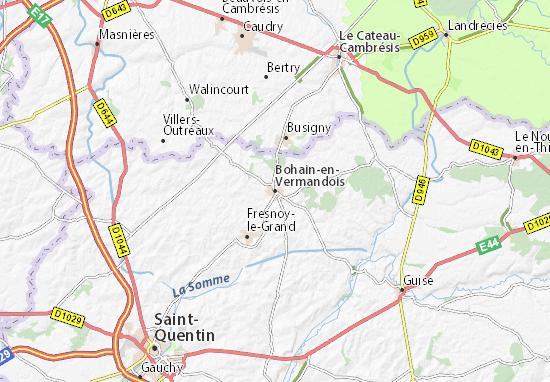 Kaart Plattegrond Bohain-en-Vermandois