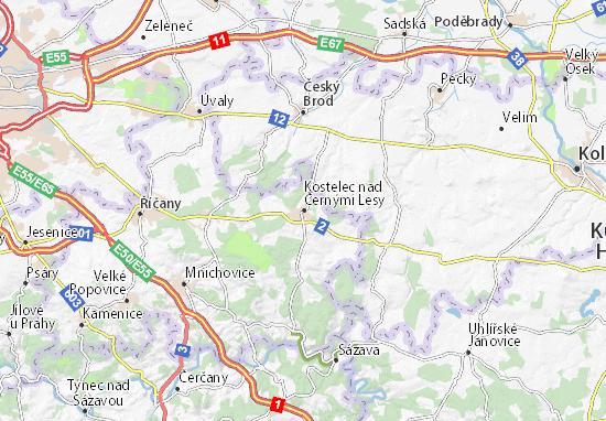 Karte Stadtplan Kostelec nad Černými Lesy