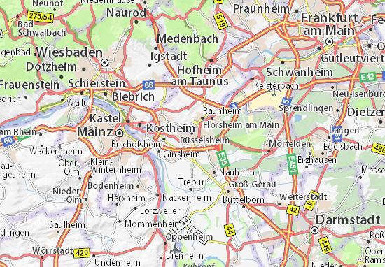 Karte Stadtplan Rüsselsheim