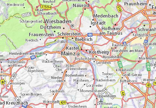 Karte Stadtplan Mainz