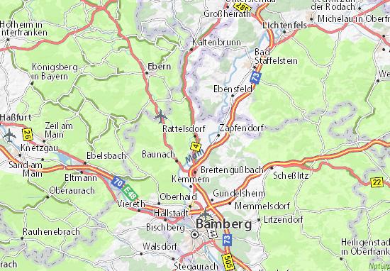Karte Bamberg.Karte Stadtplan Rattelsdorf Viamichelin