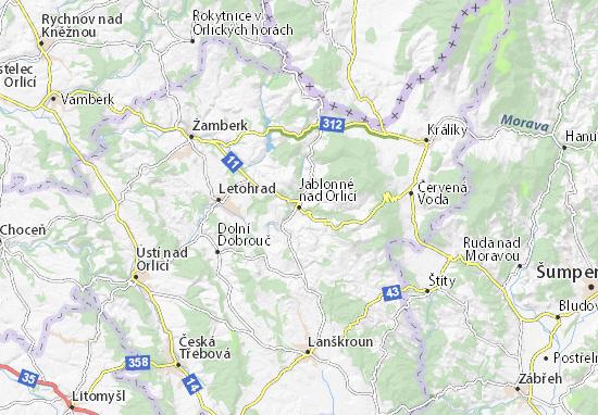 Mapa Plano Jablonné nad Orlicí