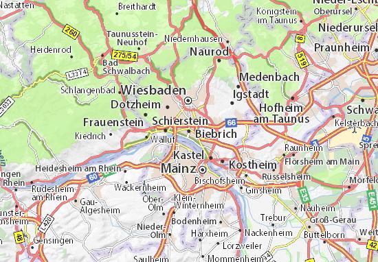 Wiesbaden Karte.Karte Stadtplan Biebrich Viamichelin