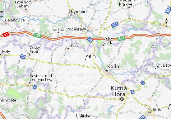 Karte Stadtplan Velim