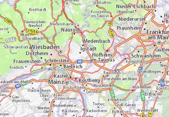 Wiesbaden Karte.Karte Stadtplan Nordenstadt Viamichelin