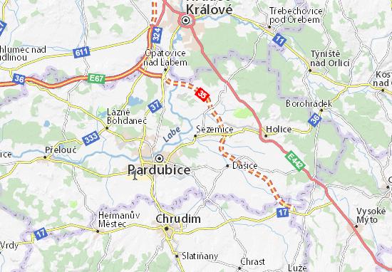 Sezemice Map