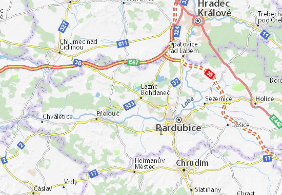 Lázně Bohdaneč Map