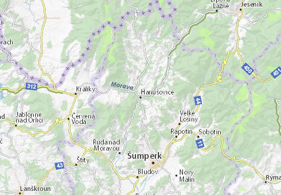 Hanušovice Map