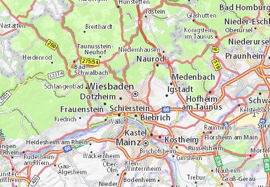 Karte Stadtplan Wiesbaden Viamichelin