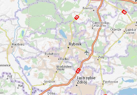 Karte Stadtplan Rybnik