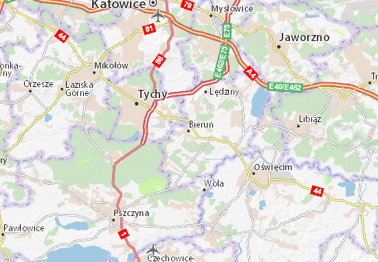 Karte Stadtplan Bieruń