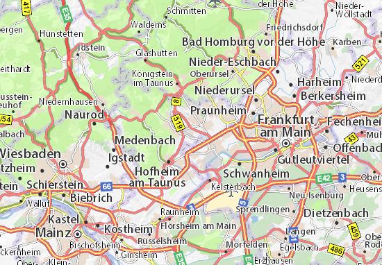 Karte Stadtplan Liederbach am Taunus