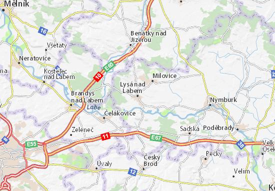 Karte Stadtplan Lysá nad Labem
