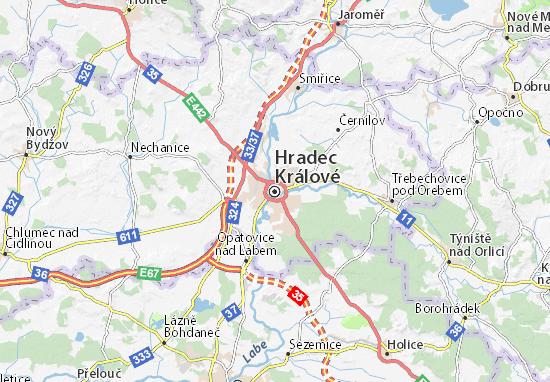 Karte Stadtplan Hradec Králové