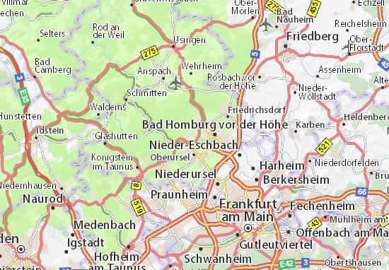 Höhenmeter Karte.Karte Stadtplan Oberstedten Viamichelin