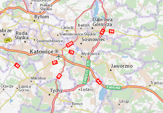 Map Of Mysłowice Michelin Mysłowice Map ViaMichelin - Zabrze map