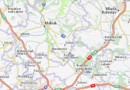 Karte Stadtplan Všetaty