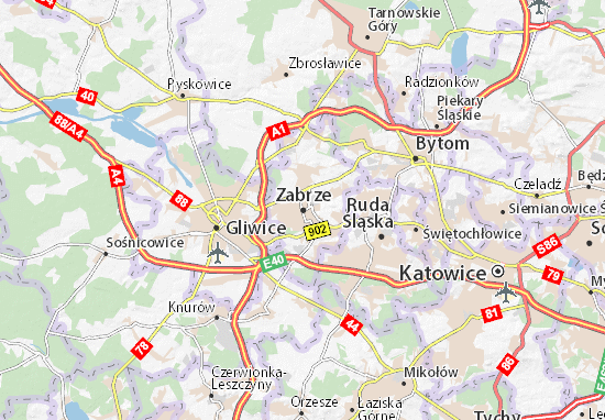 Map Of Zabrze Michelin Zabrze Map ViaMichelin - Zabrze map