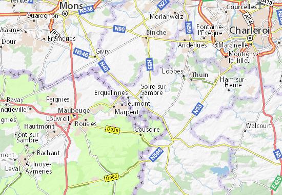 Kaart Plattegrond Solre-sur-Sambre