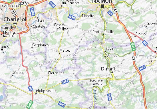 Carte Belgique Maredsous.Carte Detaillee Denee Plan Denee Viamichelin