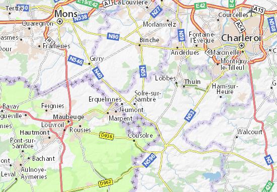Kaart Plattegrond Merbes-le-Château