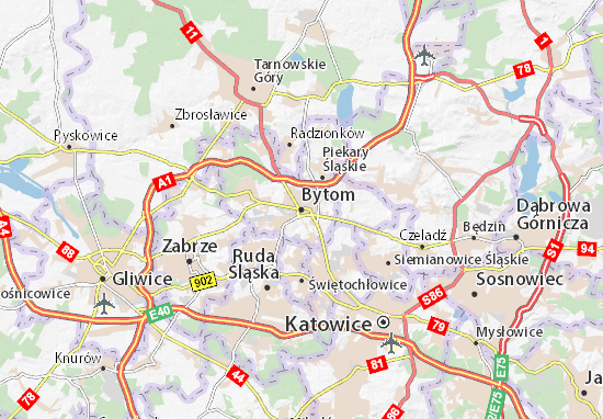 Map Of Bytom Michelin Bytom Map ViaMichelin - Zabrze map