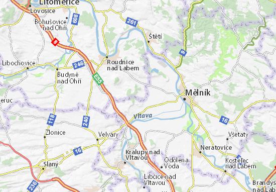 Mapa Plano Horní Beřkovice