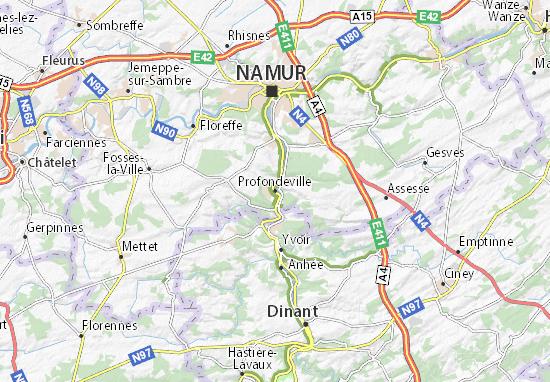 Carte Belgique Dinant Environs.Carte Detaillee Profondeville Plan Profondeville Viamichelin