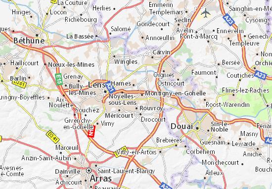 Carte-Plan Fouquières-lès-Lens