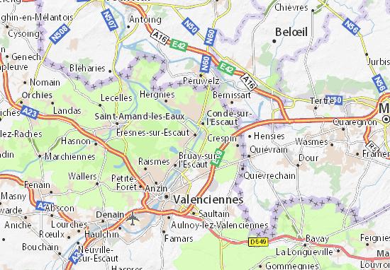 Kaart Plattegrond Fresnes-sur-Escaut