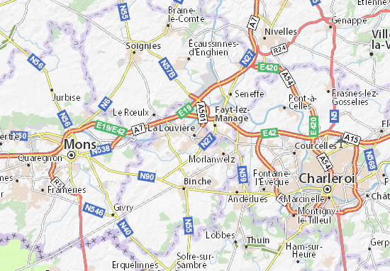 Karte Stadtplan La Louvière