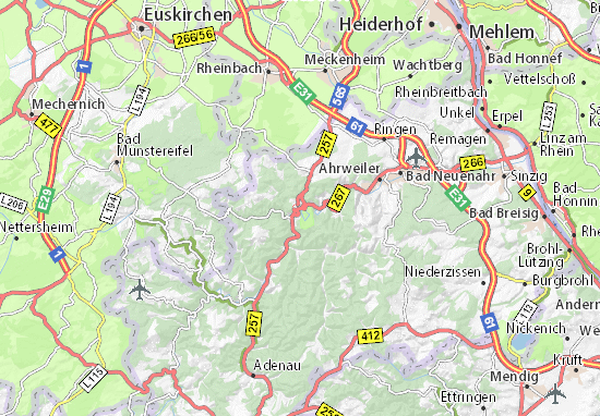 Detailed Map Of Altenahr Altenahr Map Viamichelin