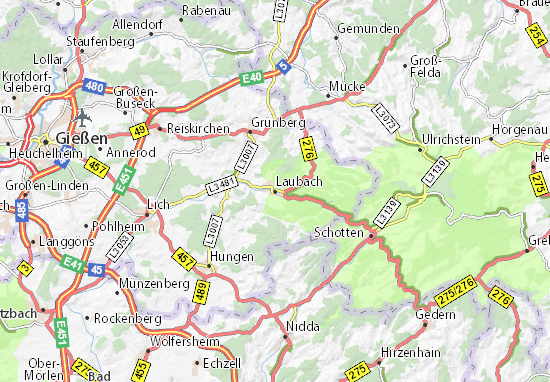 Karte Stadtplan Laubach