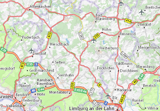 Karte Stadtplan Obersayn Viamichelin