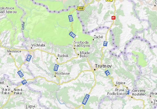 Mladé Buky Map