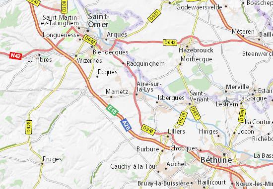 Kaart Plattegrond Aire-sur-la-Lys