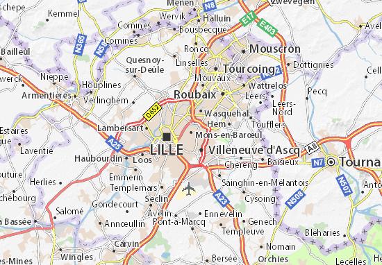 Carte Belgique Mons.Carte Detaillee Mons En Barœul Plan Mons En Barœul Viamichelin