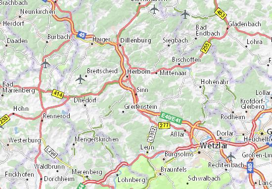 Karte Stadtplan Sinn