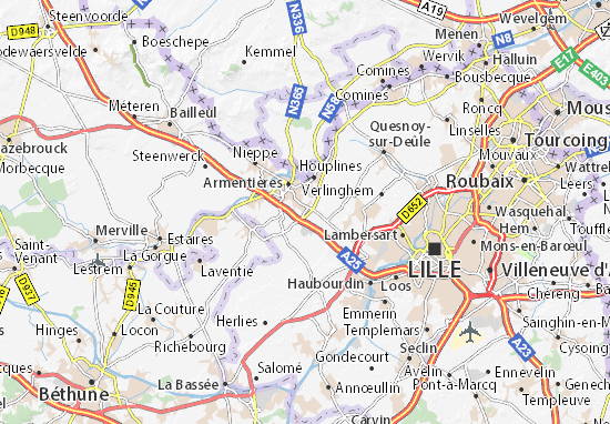 Carte d taill e la chapelle d 39 armenti res plan la for Garage la chapelle d armentieres