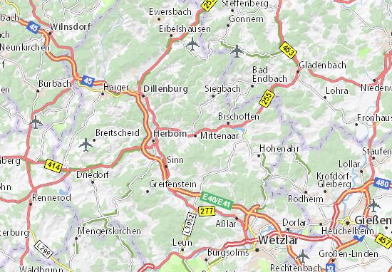 Karte Stadtplan Mittenaar