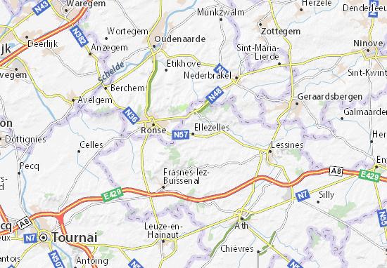 Kaart Plattegrond Ellezelles