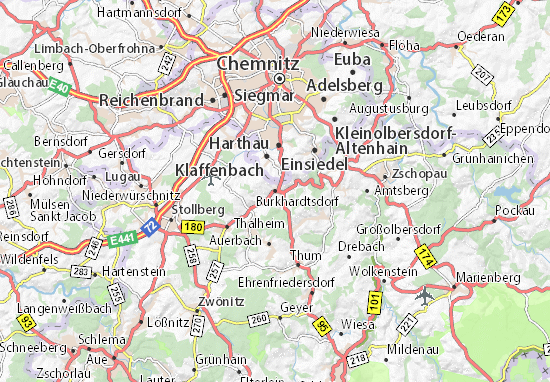 Chemnitz Karte.Karte Stadtplan Burkhardtsdorf Viamichelin